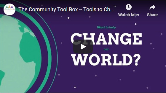 Graphic image of the Community Tool Box YouTube video graph, featuring the video control buttons.
